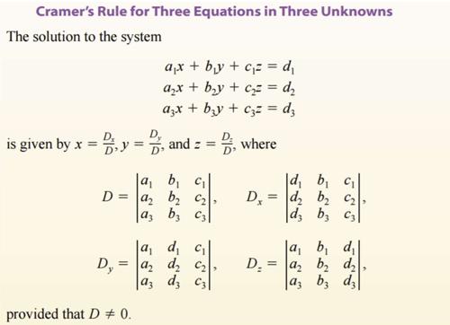 حل دستگاه معادلات خطی با استفاده از روش کرامر