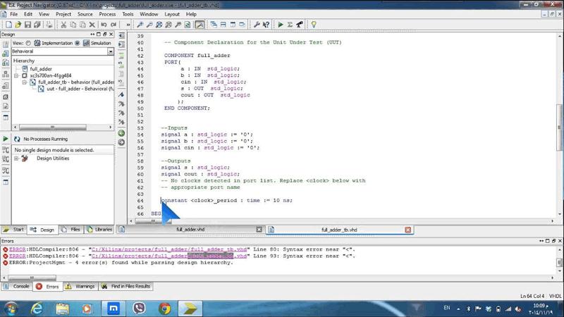 کد VHDL ، برای FullAdder  در نرم افزار Quartus