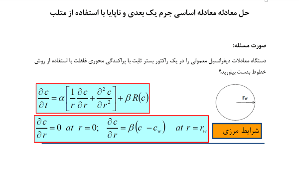 حل-عددی-معادله-اساسی-جرم-یک-بعدی-و-ناپایا-در-مختصات-استوانهای-با-استفاده-از-متلب