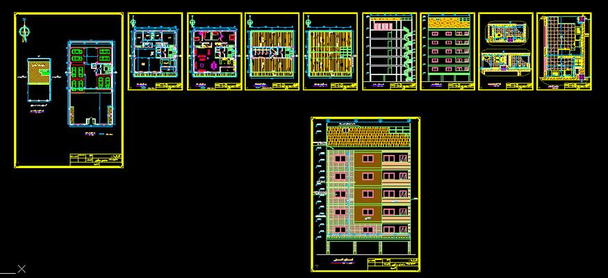 دانلود-پلان-مسکونی-پنج-طبقه-230-متری-با-جزییات-اجرایی-کامل